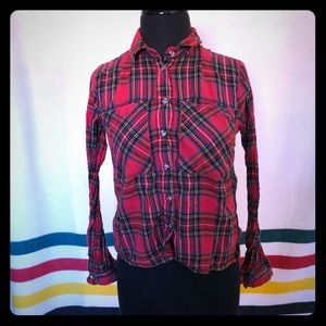 Topshop Red Plaid Button Up Size 2